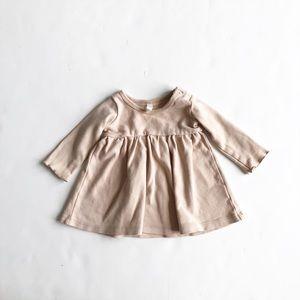 Quincy Mae cream dress EUC 3-6 months